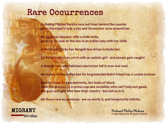 """RARE OCCURRENCES"" BY NABEEL PHILIP MOHAN. MIGRANT WRITES, Q8 BOOKS, MAR. 14."
